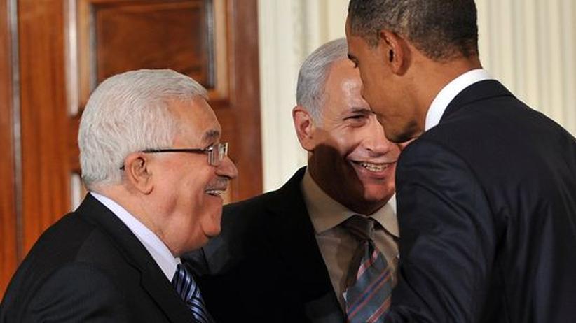 Nahost: Abbas, Obama und Netanjahu nach einer Pressekonferenz zu den Nahost-Friedensgesprächen in Washington