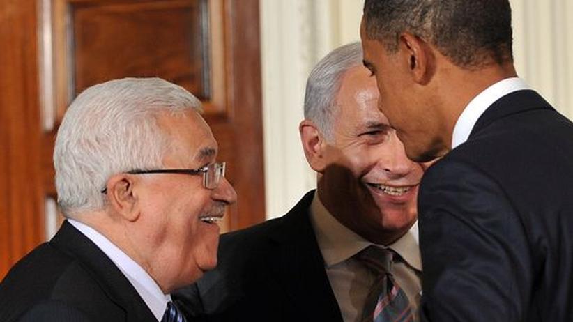 Palästinenserpräsident Mahmud Abbas (l.), US-Präsidenten Barack Obama und der israelische Ministerpräsidenten Benjamin Netanjahu (m.)