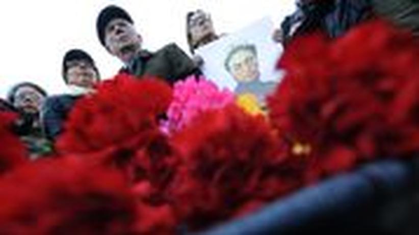 Kundgebung zu Ehren der ermordeten Journalistin Anna Politkowskaja in Moskau