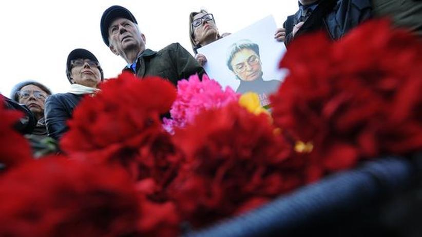 Kundgebung zu Ehren der ermordeten Journalistin Anna Politkowskaja, in Moskau