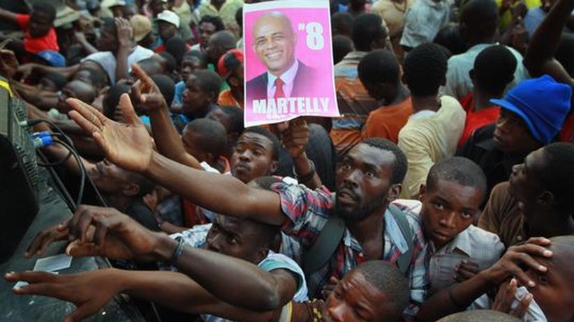 Unterstützer des Präsidentschaftskandidaten und Sängers Michel Martelly