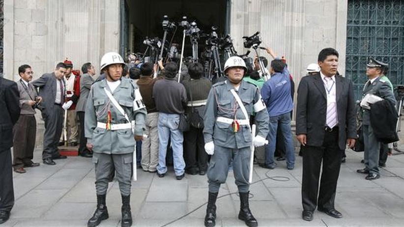 Vor dem Präsidentenpalast in La Paz, Bolivien