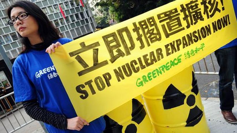 Atomkraftgegner demonstrieren in Hongkong.