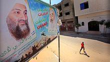 Der getötete Al-Qaida-Chef Osama bin Laden auf einem Plakat im Gazastreifen