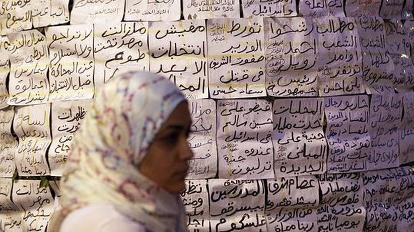 Eine Ägypterin auf dem Tahrir-Platz