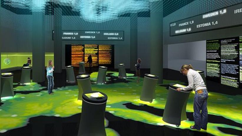 Parlamentarium: Eine 3D-Lichtinstallation von Europa im Brüsseler Parlamentarium