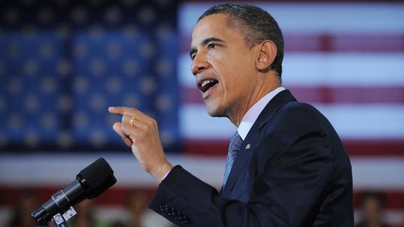 US-Wahlkampf: Wahlkampf läuft: Präsident Obama bei seiner Rede in Kansas.
