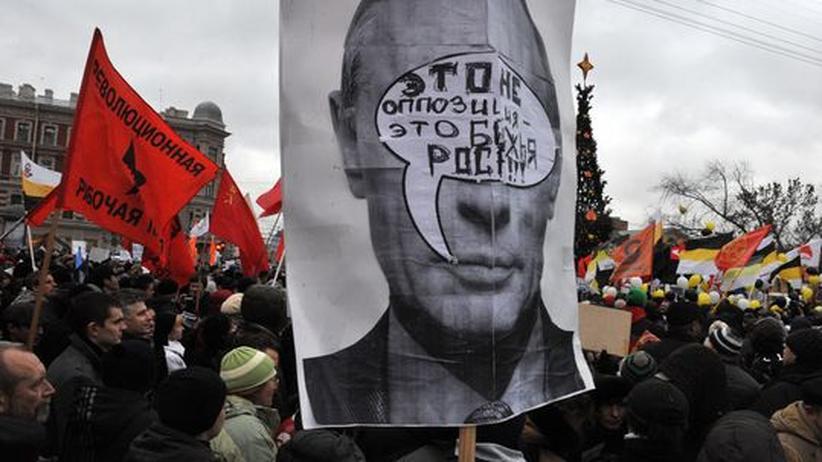 Demonstration gegen die umstrittenen Dumawahlen, 18.Dezember in St.Petersburg