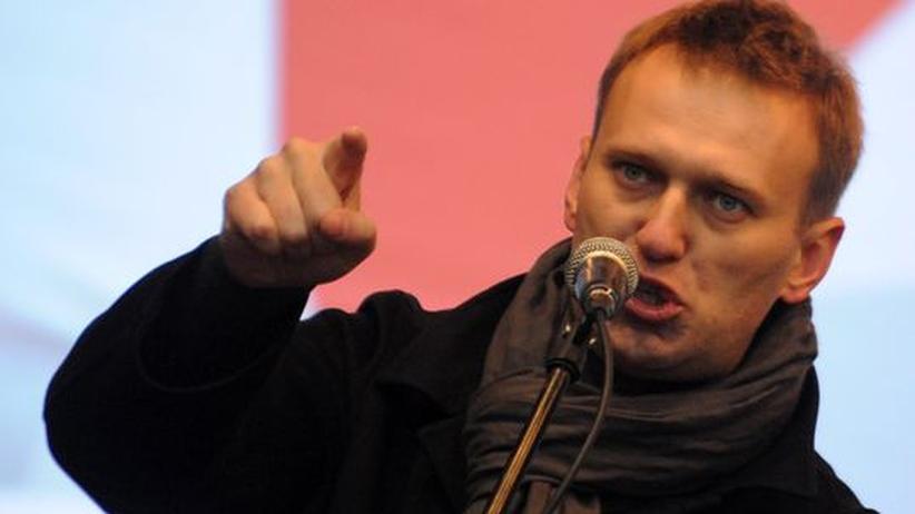Russland: Der regierungskritische Blogger Alexej Nawalny auf einer Protestveranstaltung in Moskau