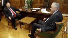 Sozialisten-Chef Evangelos Venizelos (links) mit dem Vorsitzenden der Demokratischen Linken, Fotis Kouvelis