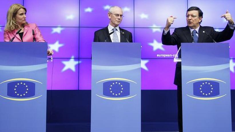 EU-Gipfel: Dänemarks Premierministerin Helle Thorning-Schmidt, EU-Ratspräsident Herman Van Rompuy und Kommissionschef José Manuel Barroso in Brüssel