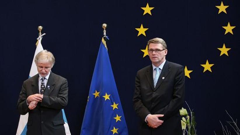 EU-Außenpolitik: Finnlands Premierminister Matti Vanhanen (r) und sein Außenminister Erkki Tuomioja