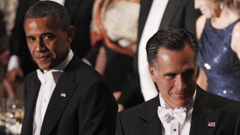 US-Wahlkampf: Obama und Romney bei einem Dinner in New York am 18. Oktober