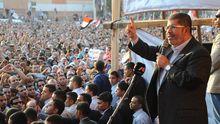 Ägyptens Präsident Mursi bei einer Kundgebung am Freitag