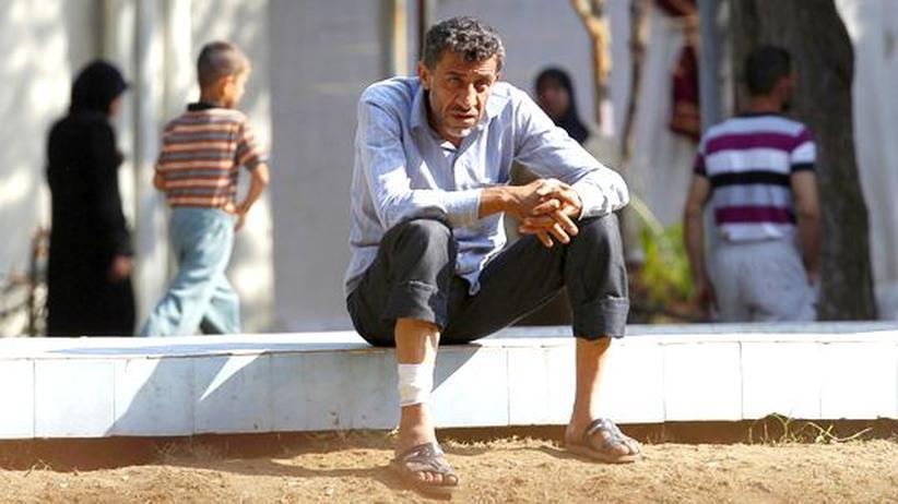 Ein verwundeter Syrer im Flüchtlingslager Yayladagi an der türkisch-syrischen Grenze