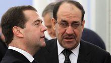 Russlands und Iraks Premierminister, Dmitrij Medwedjew und Nuri al-Maliki