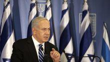 Israels Premier Benjamin Netanjahu bei einer Pressekonferenz zu dem Waffenkonflikt am Gazastreifen
