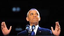 US-Präsident Obama spricht nach seinem Wahlsieg zu tausenden Parteifreunden auf der Wahlparty in Chicago