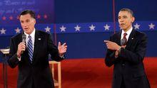 Barack Obama und sein republikanischer Herausforderer Mitt Romney (während der zweiten TV-Debatte Mitte Oktober)