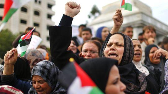 Palästinenser demonstrierten am Dienstag in Gaza-Stadt für die diplomatische Aufwertung bei den Vereinten Nationen.