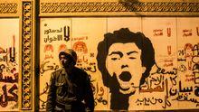 Polit-Grafitti am Präsidentenpalast in Kairo
