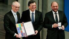 Nahmen den Preis entgehen: Ratspräsident Herman Van Rompuy, Kommissionschef Jose Manuel Barroso Und Parlamentspräsident Martin Schulz (v.l.)