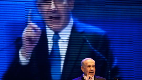 Israels Premier Benjamin Netanjahu während der Wahlveranstaltung in Jerusalem