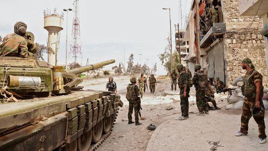 Syrische Truppen bei einem Einsatz in Aleppo