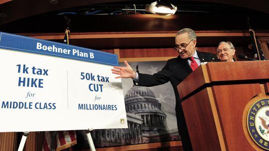Die Senatoren John Schumer und Tom Harkin (r.) erläutern das Haushaltsproblem