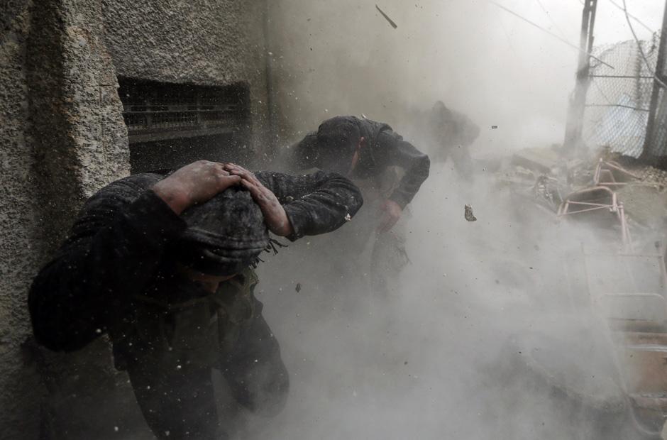 FSA-Kämpfer nach der Granatenexplosion