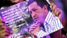 Der venezolanische Präsident Hugo Chávez auf einem Poster