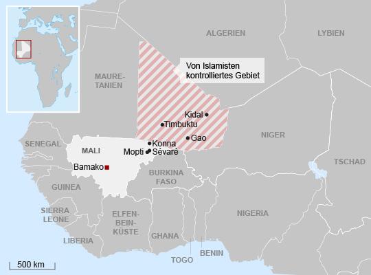 Bewaffnete islamistische Gruppen kontrollieren den Norden Malis und kämpfen gegen Regierungstruppen. Aus Angst vor einem neuen Rückzugsgebiet für Terroristen hat Frankreich nun in den Konflikt eingegriffen.