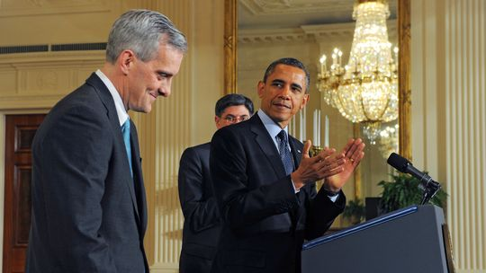 US-Präsident Barack Obama mit seinem neuen Stabschef Denis McDonough (l)