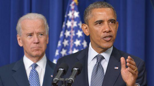 US-Präsident Barack Obama und sein Vize Joe Biden bei ihrer Pressekonferenz im Weißen Haus