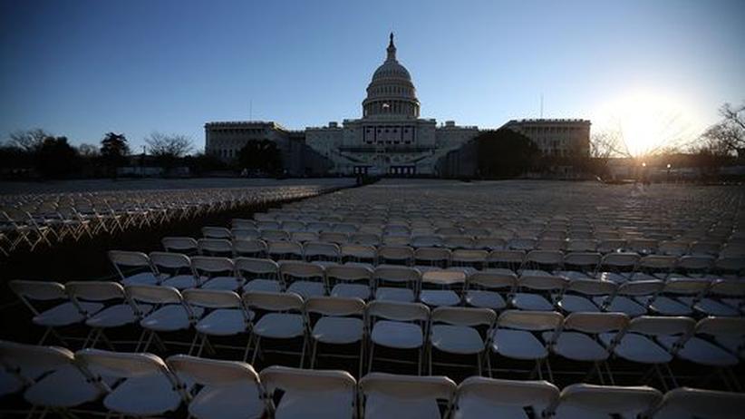 Das US-Capitol in Washington vor der Inauguration von Präsident Obama