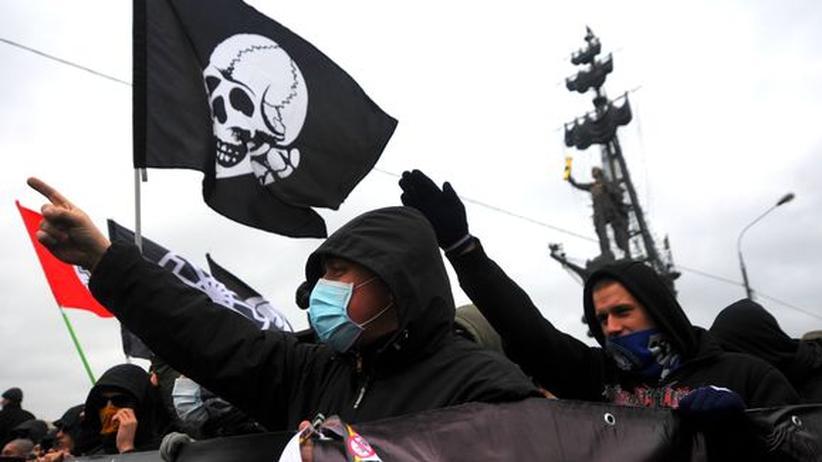 """Ultranationalisten beim """"Russischen Marsch"""" im November 2012"""