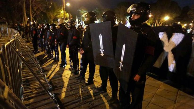 Rechtsradikale: Mitglieder der nationalistischen Elam-Partei auf einer Demonstration in Nikosia am vergangenen Donnerstag
