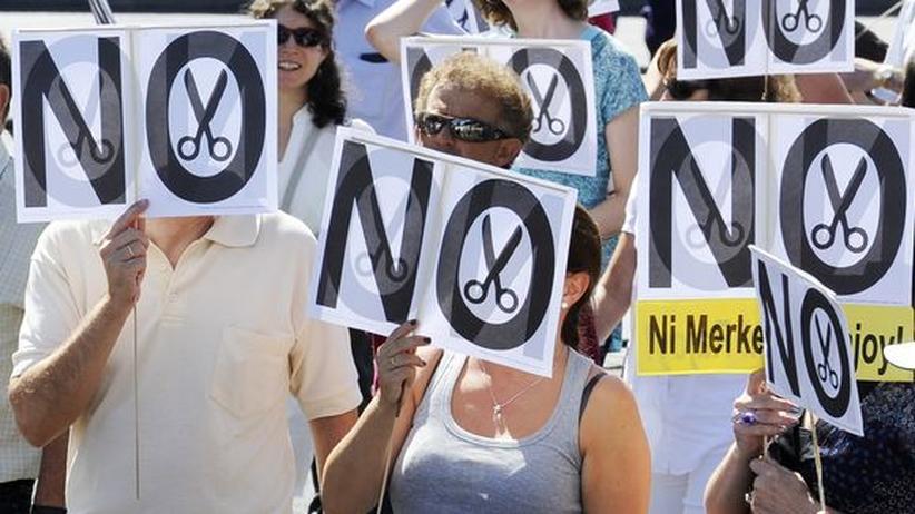 Staatsverschuldung: Protest gegen die Sparpolitik in Madrid (Archivbild)