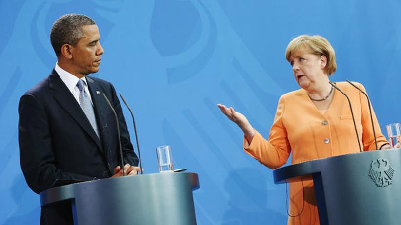 NSA-Abhörskandal: Kanzlerin mit ihrem Gast Obama bei ihrer gemeinsamen Pressekonferenz Mitte Juni in Berlin