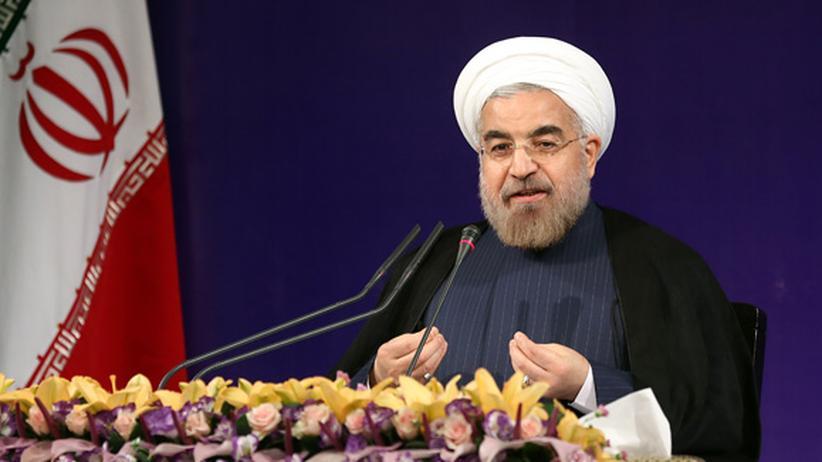 UN-Vollversammlung: Hassan Ruhani auf seiner ersten Pressekonferenz als Irans neuer Präsident, 6. August 2013