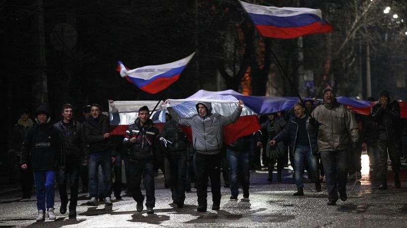 Halbinsel Krim: Prorussische Demonstranten in Simferopol