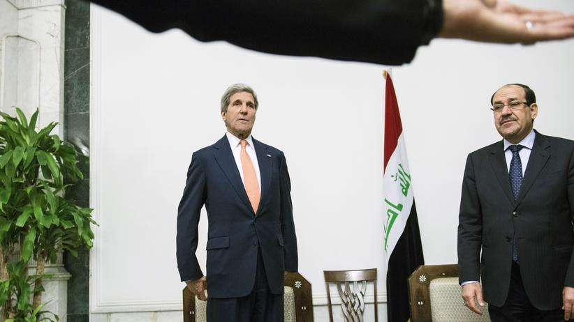 John Kerry: US-Außenminister John Kerry (l.) zu Besuch in Bagdad bei dem Regierungschef des Irak, Nuri al-Maliki