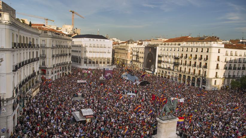 Demonstranten in Spaniens Hauptstadt Madrid