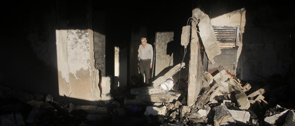 Das Haus eines der Verdächtigen in Hebron, zerstört von der israelischen Luftwaffe