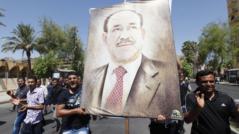 Irak: Anhänger von Nuri al-Maliki unterstützen den irakischen Ministerpräsidenten bei einem Protestmarsch in Bagdad.