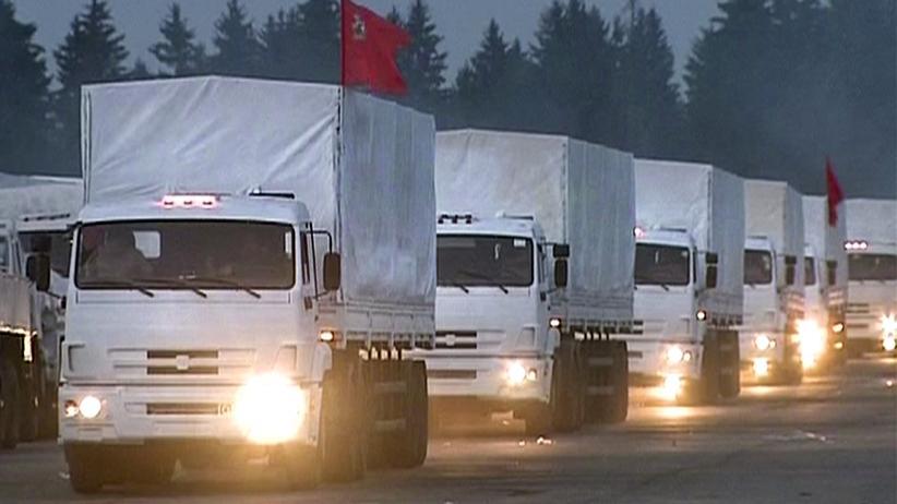 Ukraine: Der Hilfskonvoi beim Verlassen von Moskau