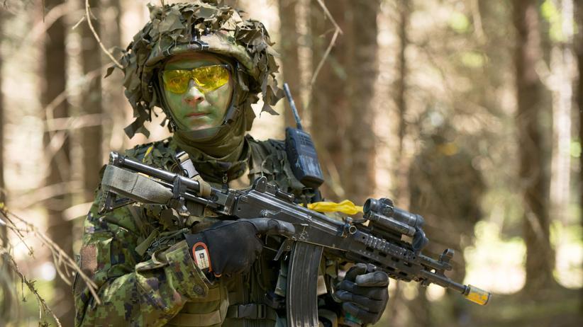 Ukraine-Krise: Ein Soldat aus Estland bei einer Militärübung der Nato