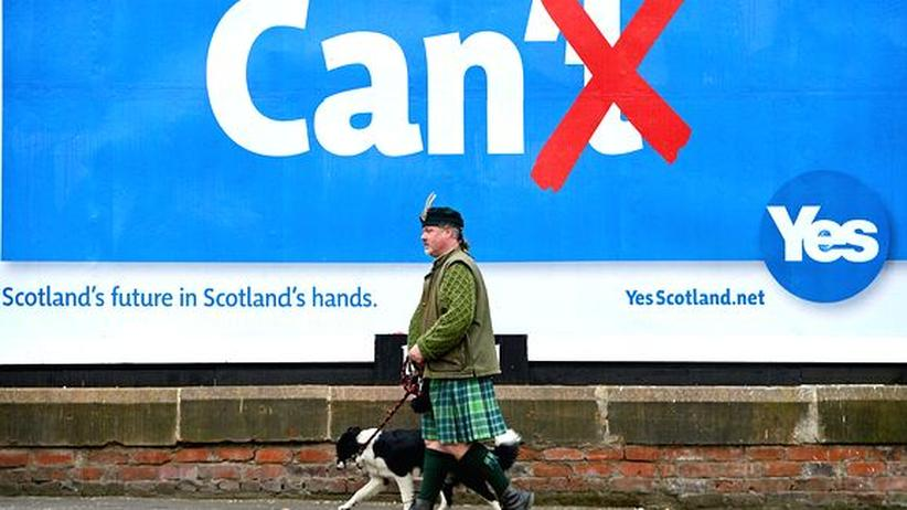 Ein Anhänger der Unabhängigkeit Schottlands in Glasgow