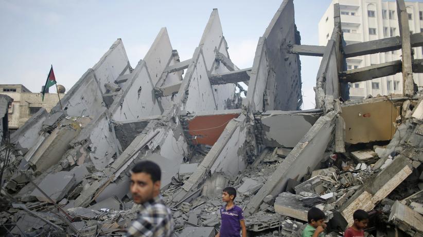 Nahost-Konflikt: Ein zerstörtes Hochhaus in Gaza Stadt am Dienstagmorgen