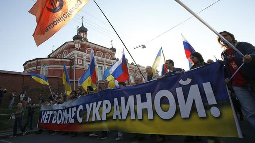 Demo in Moskau gegen die Ukraine-Politik